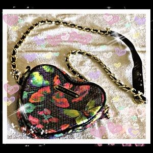 Betsy Johnson Sequined Butterfly Sweetheart Bag